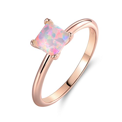 Barzel Rose Gold Plated Princess-Cut Created Fire Opal Solitaire Engagement Ring (9)