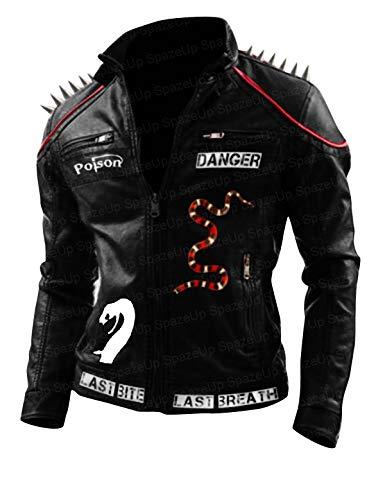 Mens Studded Spikes Danger Last Venomous Bite Biker Last Red Breath Leather Jacket