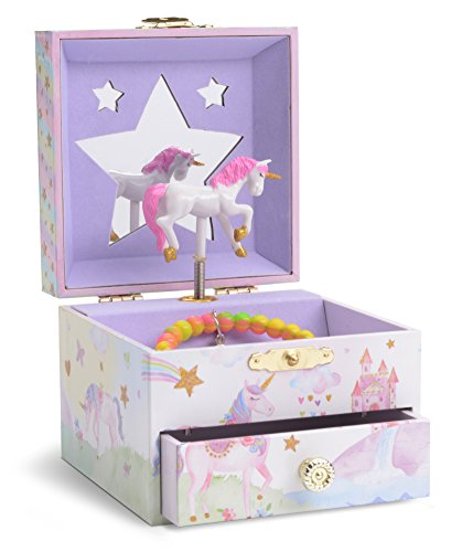 JewelKeeper Musical Jewelry Box with Spinning Unicorn, Glitter Rainbow and Stars Design, Somewhere Over the Rainbow Tune by JewelKeeper