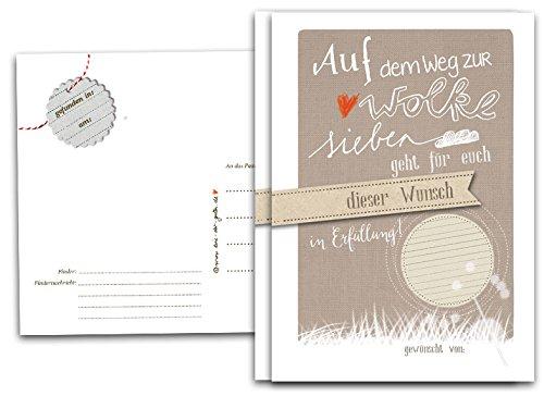 50 Ballonflugkarten - Auf dem Weg zur Wolke 7 - für die Hochzeit, Taufe, Kommunion, Konfirmation u.v.m. | Hochzeitsspiel & Pa