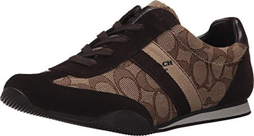 Coach Womens Kelson Low Top Lace up Fashion Sneakers, Khaki Chestnut, Size (Coach Sneakers)