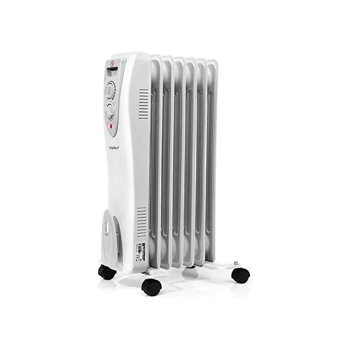 41NF9GeXicL 【3 Niveles de potencia & Control termostático】Selección de potencia entre: 550, 950 o 1500 watios (2500 BTUs). El control de temperatura mediante termostato permite seleccionar la temperatura deseada para un máximo confort, calentando de forma rápida y duradera habitaciones de hasta 15 m2. 【7 Elementos de calor】7 Elementos de calor con tubos de doble U para un calentamiento más rápido y una mayor eficiencia energética; calienta de forma rápida y duradera habitaciones de hasta 15 m2. 【Calor seguro】Piloto indicador luminoso de encendido y protección contra el sobre-calentamiento y contra caídas, si el aparato se cae de apagará de forma automática.