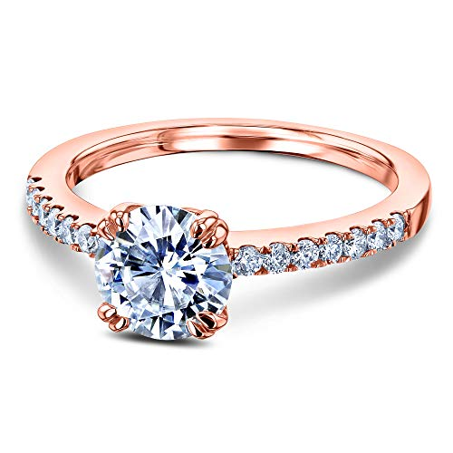 Gold Mounting 14k Solitaire White (1-1/5ct.tw Double Prong Solitaire Moissanite and Side Stone Classic Engagement Ring 14k Rose Gold (FG/VS, GH/I1-I2), 10)