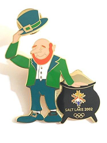 Rare Salt Lake City St. Patrick's Day Hinged Motion Leprauchaun Pot Of Gold Winter Olympics Pin LE 12/2002