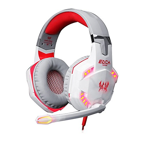 Bestland EACH G2000 Gaming Headset Professional Over Ear Stereo 3.5mm Plug Gaming Headphone with Mic Bass LED Light…