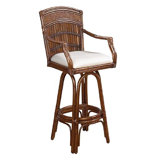 Hospitality Rattan Polynesian Indoor Swivel Antique Finish Bamboo and Rattan Bar Stool with Cushion ()