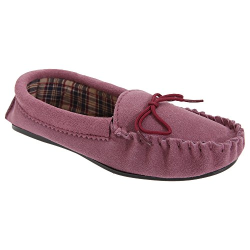 Mokkers - Zapatillas de estar por casa modelo Amanda estilo mocasín para mujerq Ciruela