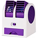 Mini Electric Bladeless Cooling Fan Dual Air Outlet Fan Desktop Portable Air Cooler Adjustable Angles (Purple)