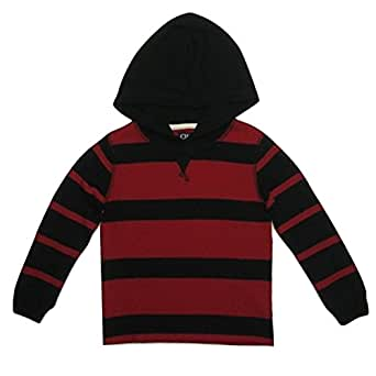 Chaps Boys Striped Thermal Hoodie, Chaps Red, (4)