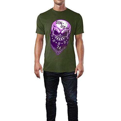 SINUS ART® Vermummter Totenkopf Herren T-Shirts in Armee Grün Fun Shirt mit tollen Aufdruck