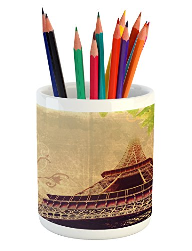 Lunarable Eiffel Tower Pencil Pen Holder, Eiffel Tower and Tree Leaves on Grunge Background with Swirls and Scrolls, Printed Ceramic Pencil Pen Holder for Desk Office Accessory, Sepia Beige