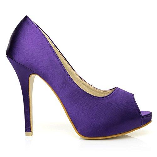 TIA Purple Satin Stiletto High Heel Platform Bridal Peep Toe Shoes a7IBcPY