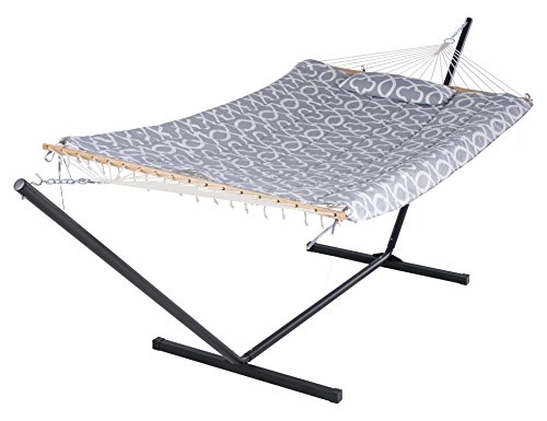SUNCREAT Cotton Rope Hammock with 12 Foot Steel Stand, Includes Pad and Pillow, iPad Bag and Cup Holder-Grey - Multifunctional hammock made of 100% cotton natural ropes; Polyester pad and pillow, easy to assemble or disassemble Rust resistant and high strength steel hammock stand can adjust its height by the chain. Set Includes: 12 foot steel hammock stand, cotton rope hammock, weather-resistant hardware, polyester sleeping pad,pillow,iPad holder and cup holder - patio-furniture, patio, hammocks - 41NFAw9sX5L -