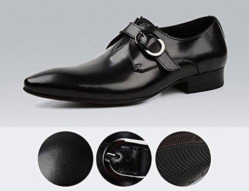 Herren Lederschuhe Herren Lederschuhe Business Formelle Kleidung britischen Stil wies Breathable Fashion Single Hochzeit Schuhe Herrenschuhe ( Farbe : Weinrot , größe : EU44/UK8.5 ) Schwarz