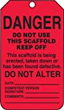 """Accuform Signs TSS101CTP Scaffold Status Tag, Legend """"DANGER DO NOT USE THIS SCAFFOLD KEEP OFF - THIS SCAFFOLD IS BEING ERECTED, TAKEN DOWN OR HAS BEEN FOUND DEFECTIVE"""", 5.75"""" Length x 3.25"""" Width x 0.010"""" Thickness, PF-Cardstock, Black on Red (Pack of 25)"""