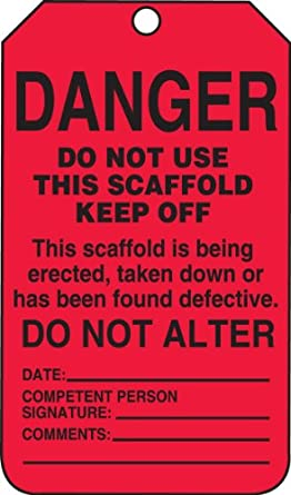 """Accuform Signs TSS101PTP Scaffold Status Tag, Legend """"DANGER DO NOT USE THIS SCAFFOLD - KEEP OFF: This scaffold is being erected, taken down or has been found defective,"""" 5.75"""" Length x 3.25"""" Width x 0.015"""" Thickness, RP-Plastic, Black on Red (Pack of 25)"""