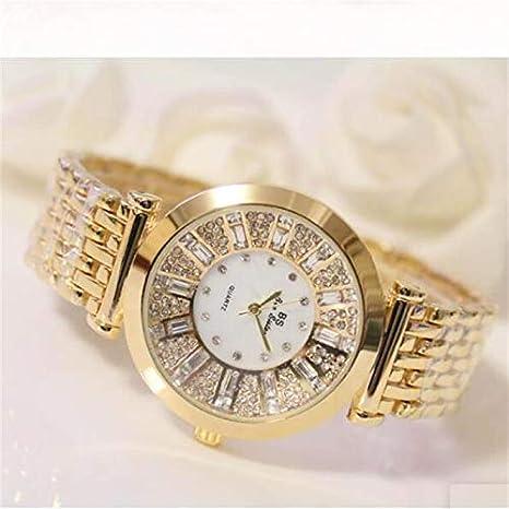 TKFY Reloj de Pulsera de Diamantes Redondos para Mujer Caja de Reloj Movimiento de Cuarzo analógico Reloj Impermeable de Pulsera Oro Plata Oro Rosa,Oro: Amazon.es: Deportes y aire libre