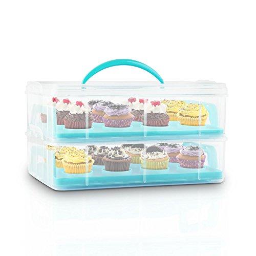 Klarstein USS Blue Cookie Kuchentransportbehälter tragbarer Tortenbuttler Kuchenbehälter für Mini-Kuchen, Torten, Muffins, Cookies und andere Lebensmittel (2 Etagen-Transportbox, mit Henkel, 2 Einleger) blau