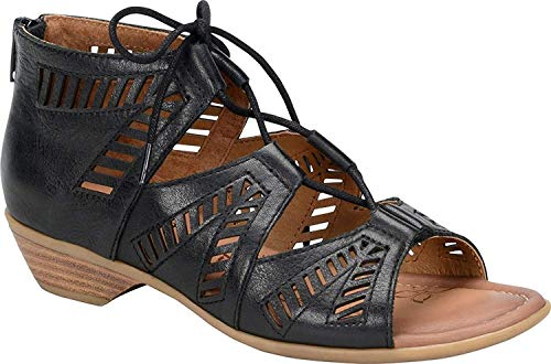 Comfortiva Womens Riley Leather Open Toe Casual Strappy Sandals, Black, Size 7.0