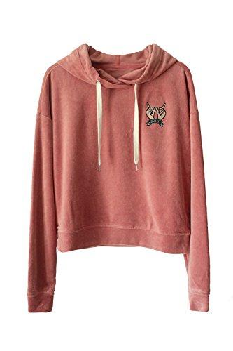 ROOLOLY ROOLOY Women's Velvet Hoodie Long Sleeve Pullover Sweatshirt(Pink,M) ()