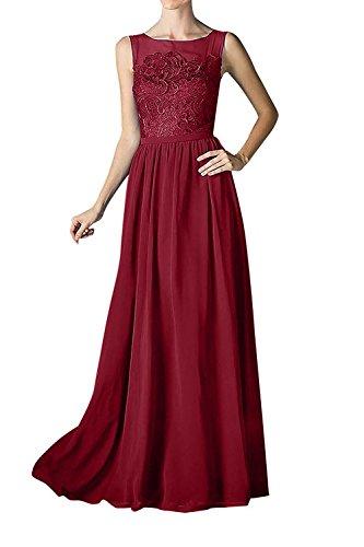 La Braut Partykleider Abschlussballkleider Ballkleider A Abendkleider Linie Lang Spitze Weinrot Rock Elegant Chiffon mia AA6wxnqB1r
