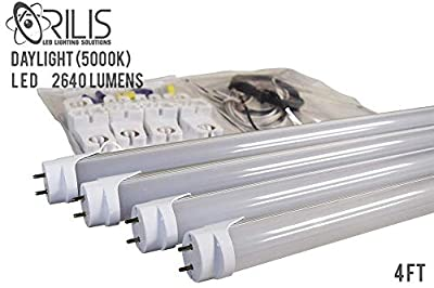 ORILIS - 4 Light Fluorescent to LED Retrofit Conversion Upgrade Kit - (8) Non Shunted Lamp Holders, (4) Single Ended 4 Ft. 22W 5000K LED T8 Tubes, 2640 Lumens Each - DLC/UL Listed