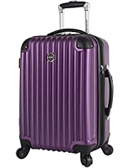 Lucas Outlander Carry On Hard Case 20 inch Expandable Rolling Suitcase With Spinner Wheels (20in, Purple)