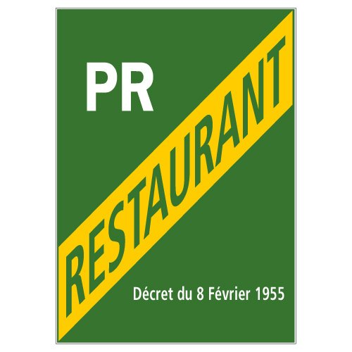 Licence Petit Restaurant - Adhé sif Autocollant Sticker - Dimensions 150 x 210 mm - Film de protection UV et anti graffiti Signalétique.biz France
