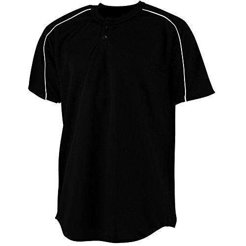 (Augusta Sportswear Boys' Wicking Two-Button Baseball Jersey M Black/White)