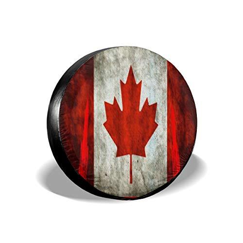 LionRiver Canada Flag Rocket Launch Spare Tire Wheel Cover for Car SUV Camper TruckJeep (14'',15'',16'',17'' Tyre Diameter)