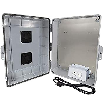 Image of Home Improvements Altelix Vented NEMA Enclosure 17x14x6 (11.5' x 9' x 4.1' Inside Space) Polycarbonate + ABS Weatherproof with Aluminum Equipment Mounting Plate, Pre-Wired 120 VAC Outlets, 5 Foot Power Cord