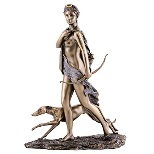 Top Collection Diana The Huntress Statue- Roman Goddess of The Hunt, The Moon, and Wild Animals Sculpture in Premium Cold Cast Bronze- 11-Inch Collectible Figurine -