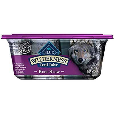 Blue Buffalo Wilderness Trail Tubs High Protein Grain Free, Natural Adult Wet Dog Food Tubs, Beef Stew 8-oz (Pack of 8)