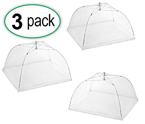 Set of 3 Food Tents 17x17 Inches with 4 Tablecloth Clamps That Will Keep Your Picnic Tablecloth in Place, Great for Camping, Picnics and More Outdoor Events. Opens and Folds Like an Umbrella