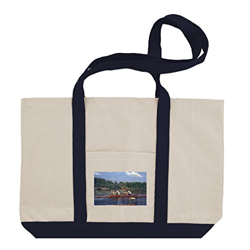 Biglin Brothers Racing (Thomas Eakins) Cotton Canvas Boat Tote Bag - Navy