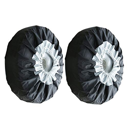 Wheel Tire Cover Tyre Spare Storage Bags With Handle Tote Dust-proof Waterproof Lightweight Oxford Fabric Protectors for Car SUV Minibus 25.6x11.8inch (2pcs) ()