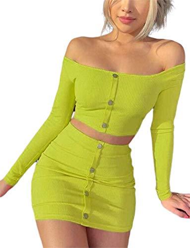 (Women Sexy Off Shoulder Button 2 Piece Crop Top Mini Skirt Set Bodycon Club Dress)