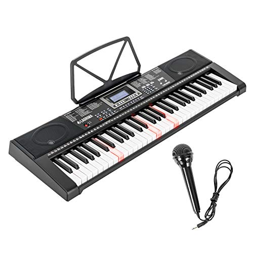LAGRIMA 61-Key Electronic Keyboard Piano w/Light-Up Keys for Beginner(Kid/Adult), Lighted Portable Keyboard w/Micphone, Power Supply, Music Stand, With Music Player Function, Black