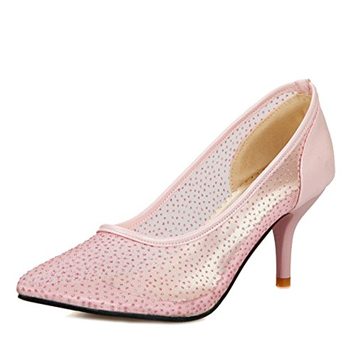 SJJH Women Court Shoes with Transparent Materail and Special Working Shoes for Office Ladies Comfortable Summer Shoes Pink 8Yl2BKFgH