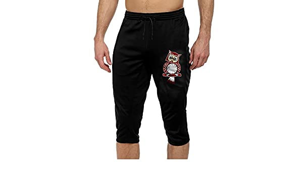 Hhil Swater Mens Personality Glowing Owl Athletic Travel Convergent 3//4 Pants