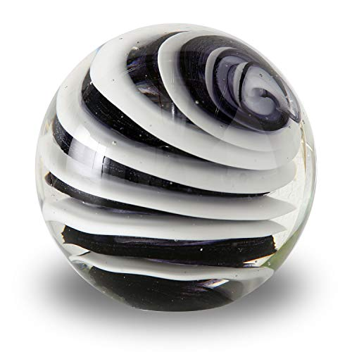 - WHW Whole House Worlds Swirl Ball Paperweight, Black and White, Hand Crafted Art Glass Orb, 3 1/4 Inches Diameter Ball, No Roll Flat Bottom (8 D cm)