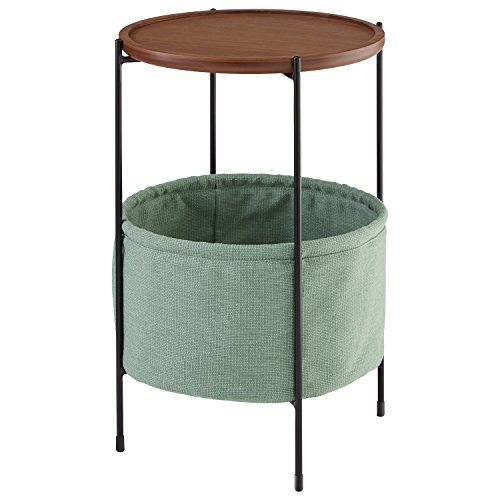 Rivet Meeks Round Storage Basket Side End Table Nightstand, Walnut and Teal Fabric