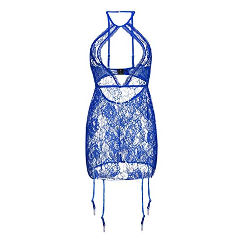 (Plus Size Lace Lingerie for Women, Lingerie with G-String Bustier Sexy Babydoll Mini Dress Nightwear (XXL, Blue))