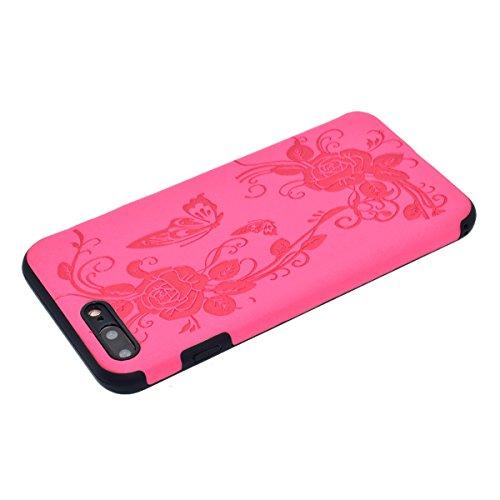 "inShang iPhone 6 Plus iPhone 6S Plus 5.5"" Funda y Carcasa para iPhone 6 Plus iPhone 6S Plus 5.5 inch case iPhone 6+ iPhone 6S+ 5.5 inch móvil, Ultra delgado y ligero Material de TPU, carcasa posterior Rose butterfly flower"