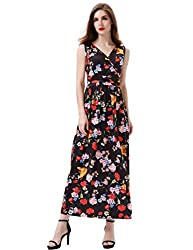 Aphratti Women S Bohemian Sleeveless Beach Sundress Empire Long Maxi Dress X Large Black