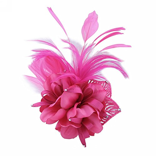 - Song Fascinator Feather Flower Hair Clip Pin Brooch Corsage Bridal Hairband Party Wedding for Women (Rose)