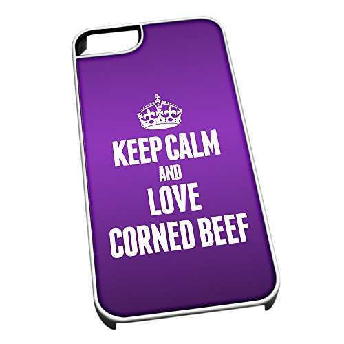 Bianco cover per iPhone 5/5S 0993viola Keep Calm and Love Corned Beef