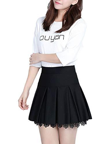 SOMTHRON Femmes Classique Taille Haute Une Ligne Jupe plisse Taille Elastique Mini Jupe avec Short intrieur Noir-2