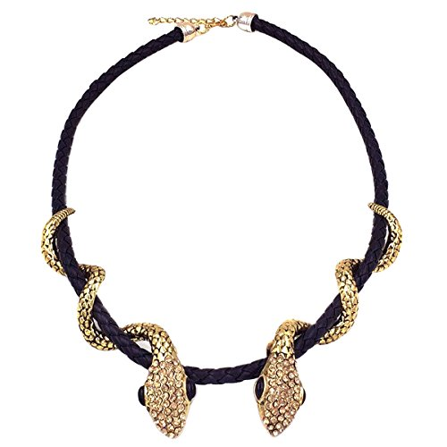 TQS Double Snake Black Leather Cord Collar Choker Alloy Metal Statement Necklace]()