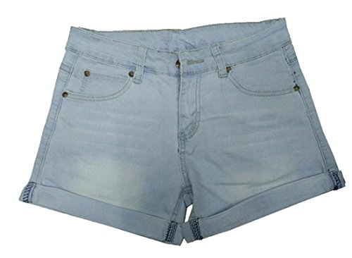 Fulok Womens Basic Cuffed Plus-size Stretch Straight Denim Shorts Light Blue XL